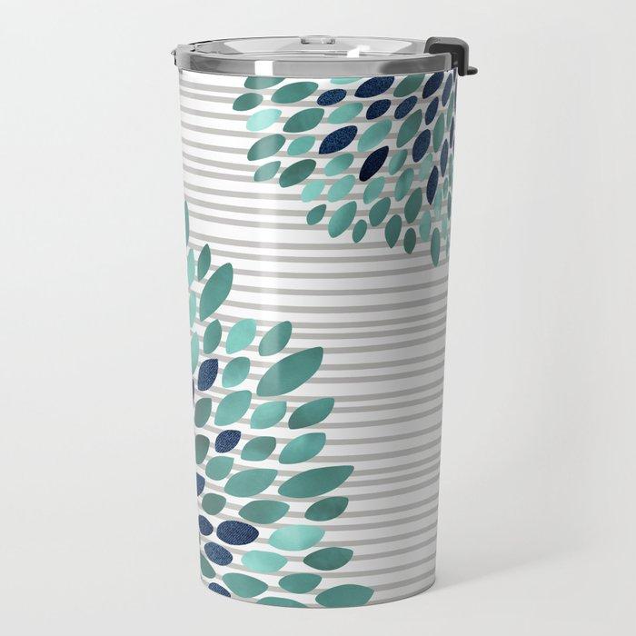Blooms and Stripes, Aqua and Navy Travel Mug