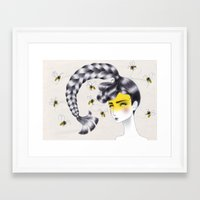 bee Framed Art Prints featuring Bee by Elena Mir