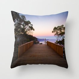 Sitting on the dock of the cliff Throw Pillow