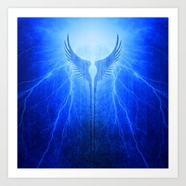 Vikings Valkyrie Wings of Protection Storm Art Print