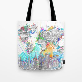 world map city skyline 6 Tote Bag