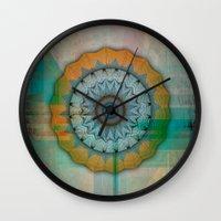 mandela Wall Clocks featuring Grunge Mandela by Robin Curtiss