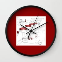 cafe Wall Clocks featuring Cafe Cafe by A Different Place and Time