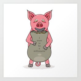 pig and bag with gold coins Art Print