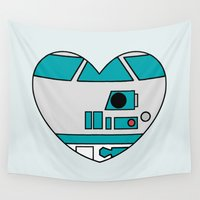 r2d2 Wall Tapestries featuring R2D2 Valentine by Hugh & West