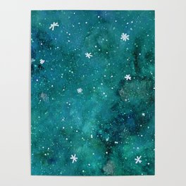 Watercolor galaxy - teal Poster