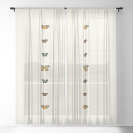 Butterfly Collage Vertical Sheer Curtain