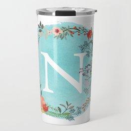 Personalized Monogram Initial Letter N Blue Watercolor Flower Wreath Artwork Travel Mug