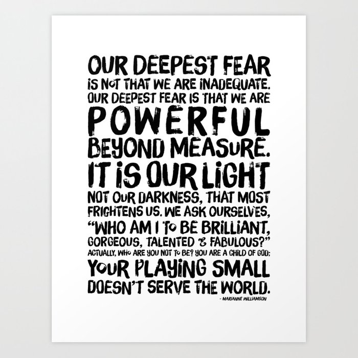 Marianne Williamson Quotes | Inspirational Print Powerful Beyond Measure Marianne Williamson