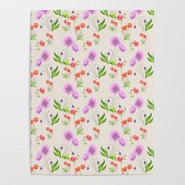 Poppy Pattern Neutral Poster