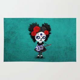 Day of the Dead Girl Playing Greek Flag Guitar Rug