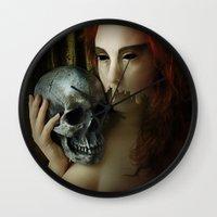 madonna Wall Clocks featuring Lamenting Madonna by Richard George Davis