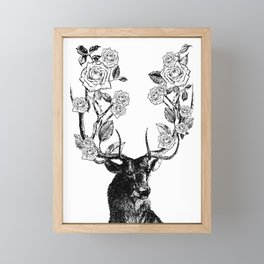 The Stag and Roses | Black and White Framed Mini Art Print