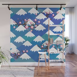 Spring Nature background with Japanese cherry blossoms, sakura pink flowers landscape. blue mountain Wall Mural