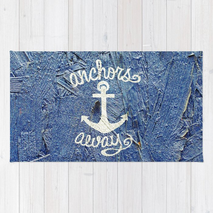 White Nautical Anchors Blue Vintage Wood Texture Rug