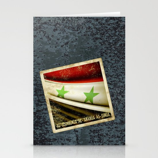 STICKER OF SYRIA flag Stationery Cards