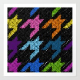 Seamless Hounds-tooth pattern. Imitation of a texture of rough canvas. Vintage image.  Art Print