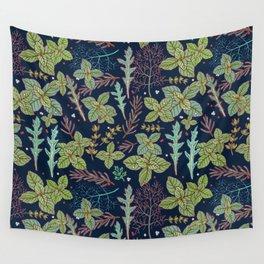 dark herbs pattern Wall Tapestry