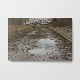 Railroad Puddles - Seattle, WA Metal Print