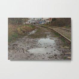 Railroad Puddles - Seattle, WA Metal Print