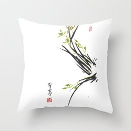 Green Wild Orchid Two Throw Pillow