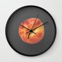 peach Wall Clocks featuring peach by jon hamblin