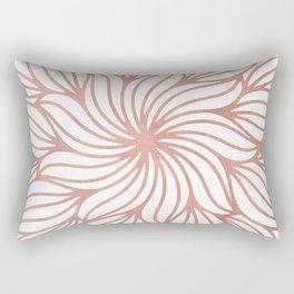 Mandala Floral Rose Gold on White Rectangular Pillow