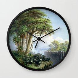Victoria Falls, Zambia and Zimbabwe with Buffalo by Thomas Baines Wall Clock