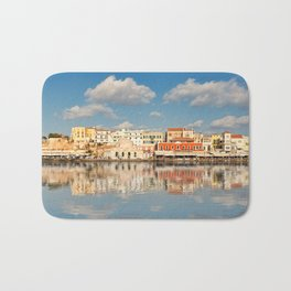 Chania's Venetian Harbour with the magnificent architecture was built in the 14th century in Crete, Greece Bath Mat