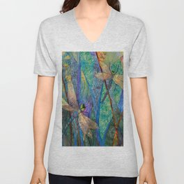 Colorful Dragonflies Unisex V-Neck