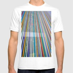 Colored Lines On The Wall MEDIUM Mens Fitted Tee White
