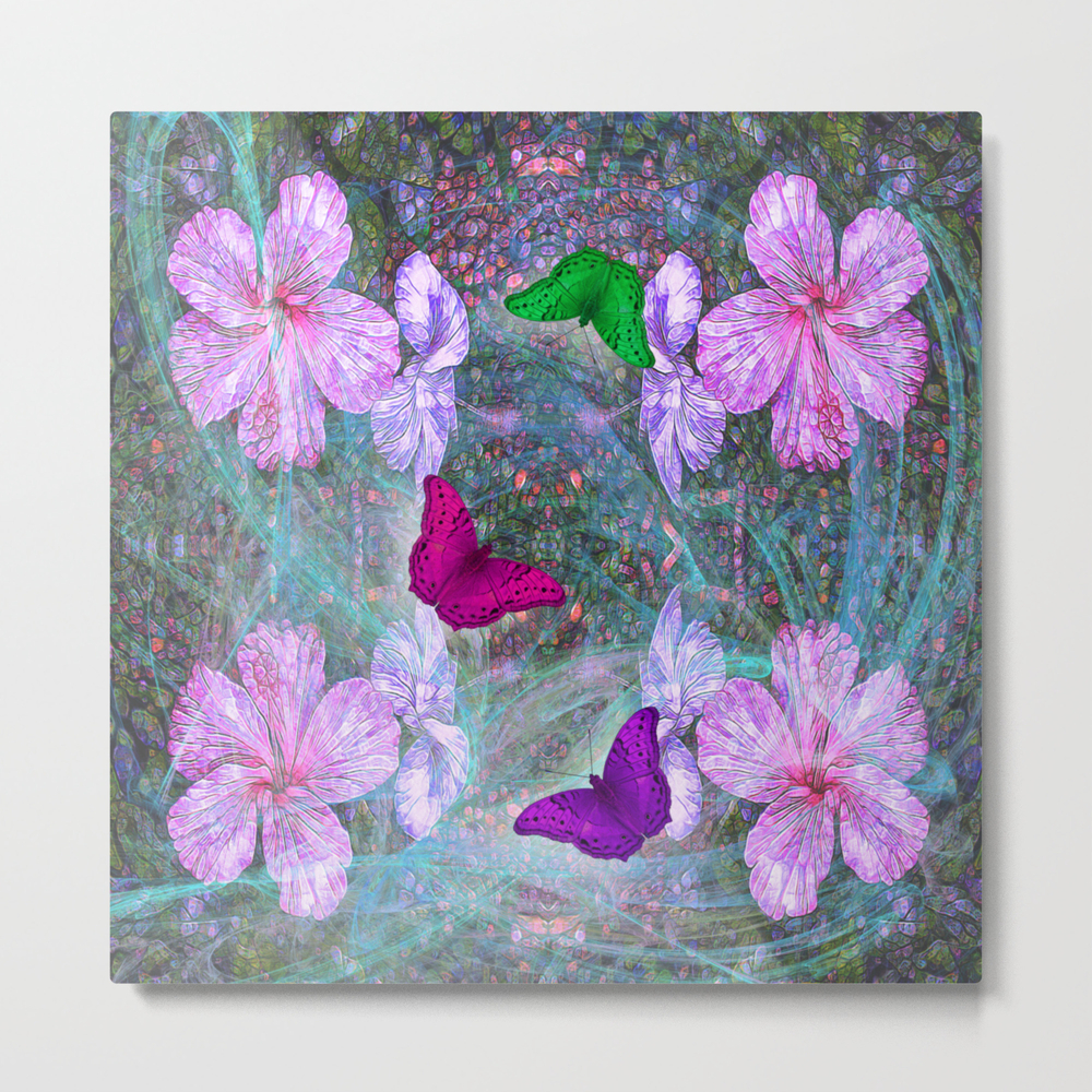 Fabulous Pink Hibiscus And Vibrant Butterflies Metal Print by Hereswendy MTP8995270