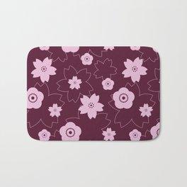 Sakura blossom - burgundy Bath Mat