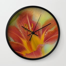 orange lily on texture Wall Clock