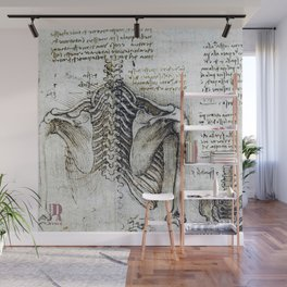 Leonardo Da Vinci human body sketches - skeleton Wall Mural