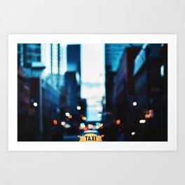 Blurred City Lights Art Print