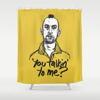 taxi driver Shower Curtains featuring Taxi Driver by Dave Flanagan