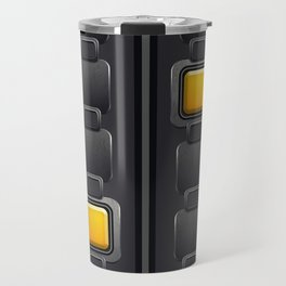 Elegant, Ornamental Pattern, Silver Squares in Yellow, Striped Grey Background Travel Mug