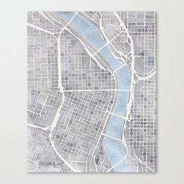 Portland Oregon watercolor city map art Canvas Print