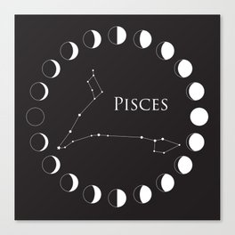 Pisces Zodiac Constellation and Phases of the Moon Canvas Print