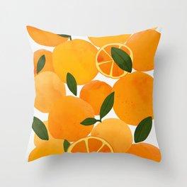 mediterranean oranges still life  Throw Pillow