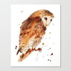 Owl, barn owl, woodland birds, harry potter wannabe gift, brown owl, watercolor owls Canvas Print