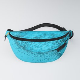 Cyan Seaturtle swimming in the ocean Fanny Pack