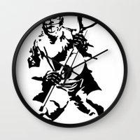 lacrosse Wall Clocks featuring lax goalie by laxwear