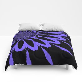 The Modern Flower Black and Periwinkle Purple Comforters