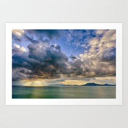 Heavenly lights through storm clouds over Lake Balaton Art Print