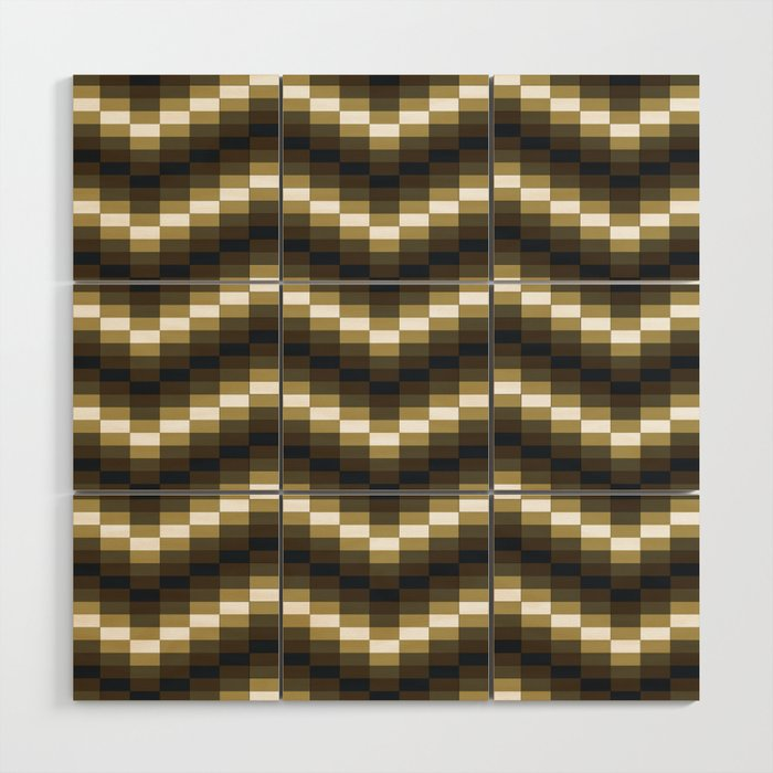 Block Wave Illustration Artwork Wood Wall Art