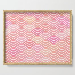 dragon fish scales simple pattern Nature background with japanese wave Serving Tray