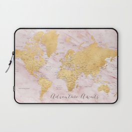 """Adventure awaits, gold and pink marble detailed world map, """"Sherry"""" Laptop Sleeve"""