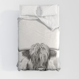 Highland Cow Longhorn in a Field Black and White Comforters